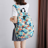 Unique Crane Flower Feather Pony Banana leaves Oxford Waterproof Student Backpack