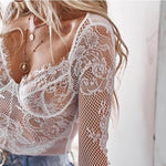 Sexy Lace Intimate Long Sleeve Jumpsuit Net Perspective Underwear Lingerie