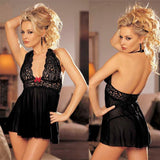Sexy Flower Lace Women Dress Bow Hollow Pajamas Lingerie