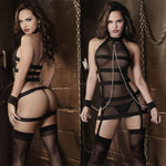 Sexy Prisoner Stripe Cosplay Women Perspective Lingerie