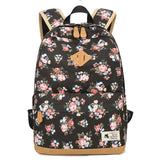 Leisure Flower Student Bag Floral Large School Canvas Backpack
