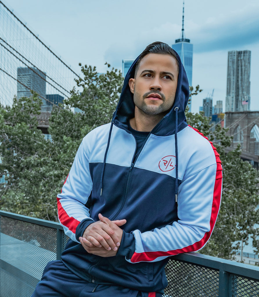 f95a48c45 Ribbed Zip Up Hoddie - Sapphire Blue/Red - Reset | Lift