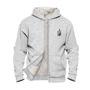 Product image for White Valhyr Faux-Wool Hoodie