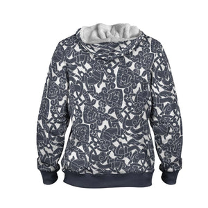 Product image for Jelling Wolf Pattern Faux-Wool Hoodie