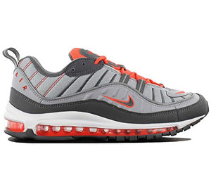 hot sale online fb44d f7810 Air Max 98 Mens Total Crimson 640744-006 Wolf Grey Dark Grey Running Shoes