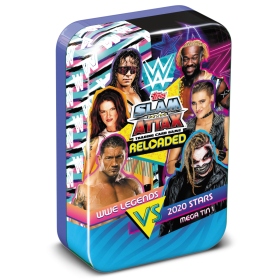 WWE Slam Attax Reloaded 2020 - Legends vs 2020 Stars, Mega Tin 1 with the Rock Limited Edition card!