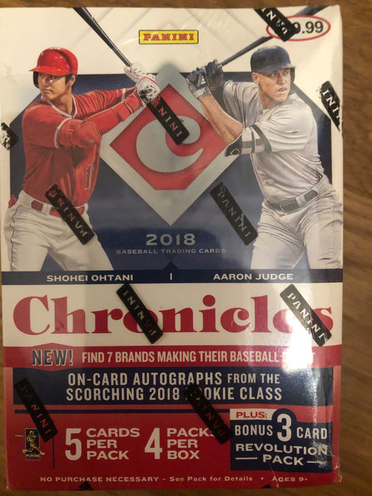 2018 Panini Chronicles Baseball 4-Pack Blaster Box - Plastic torn at top of box , see pictures. - Sports Trading Cards UK