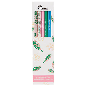 Five colorful pencils in a floral box