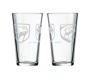 Pint Glass Viper Heads Logo