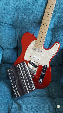 Bark & Rock Black Marble recycled wood notebook with candy apple red Fender Telecaster