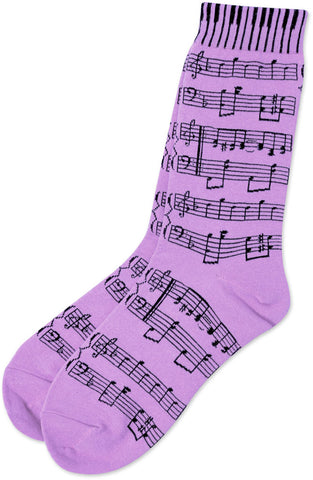 Unisex Socks Size 9-13 - Sheet Music Purple