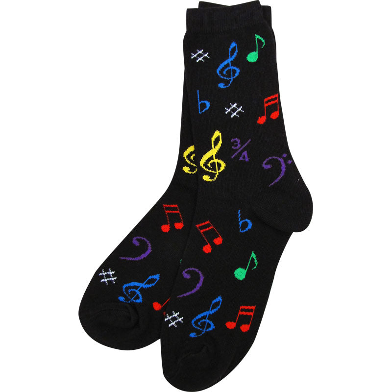 Unisex Socks Size 9-13 - Multi Notes (Black)