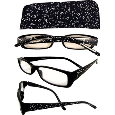 Reader Glasses Music Notes - Black
