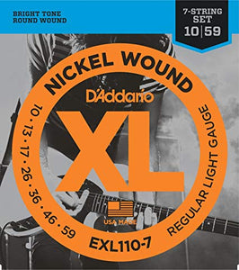 D'Adderio EXL110-7 Nickel Wound, 7-String, Regular Light, 10-59