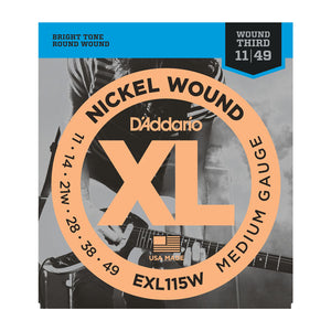 D'Addario EXL115W Nickel Wound, Medium/Blues-Jazz Rock, Wound 3rd, 11-49