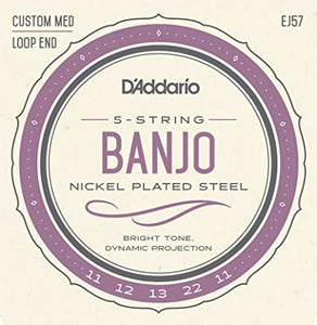 D'Addario EJ57 Nickel 5-String Banjo Strings, Custom Medium, 11-22