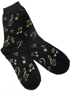 Unisex Socks Size 9-13 - Notes (Black and Gold)