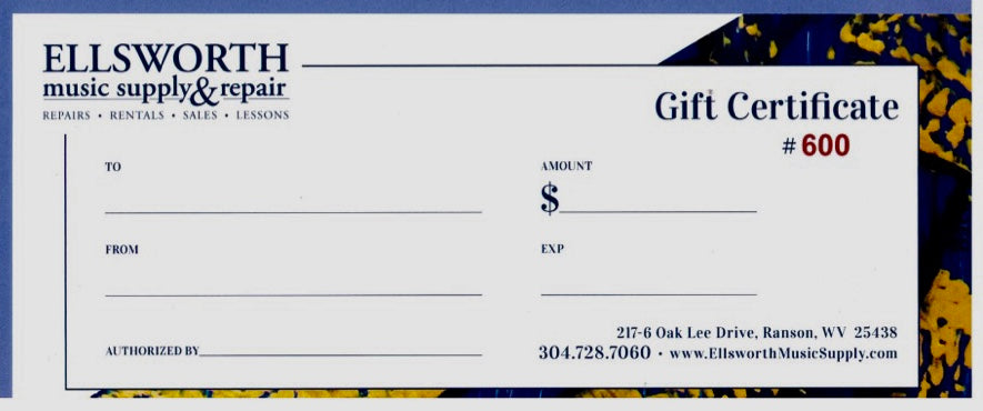 Ellsworth Music Gift Certificate