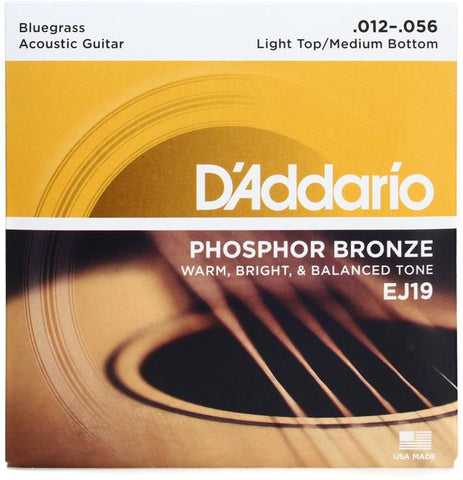 D'Addario EJ19 Phosphor Bronze Bluegrass Light Top/Medium Bottom Acoustic Strings