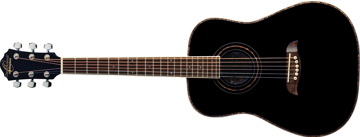 Oscar Schmidt OGHSBLH 1/2 Size Dreadnought Left Hand Acoustic Guitar - Black