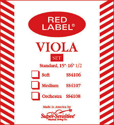 Super Sensitive Red Label Viola Strings - Medium