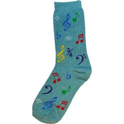 Unisex Socks Size 9-13 - Multi Notes (Metallic Mint)
