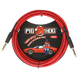 "Pig Hog ""Candy Apple Red"" Vintage Instrument Cable, 10ft Straight (PCH10CA)"