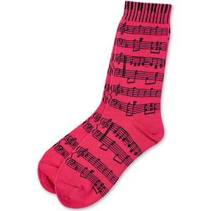Unisex Socks Size 9-13 - Sheet Music Pink