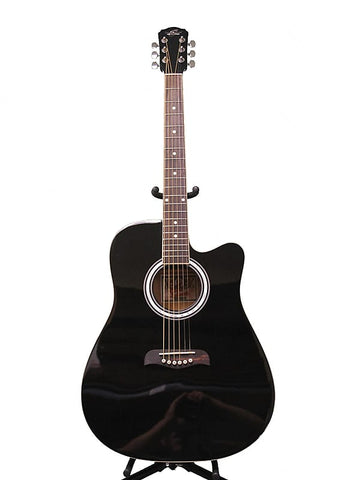 Oscar Schmidt OD45CBPAK Dreadnought Cutaway Linden Top 6-String Acoustic Guitar Pack w/Gig Bag&Picks