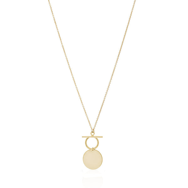 "Fob Necklace. 18"" long, fine chain necklace featuring vintage style, fob detailing and a circular disc. Sterling Silver or 14kt Gold Filled"
