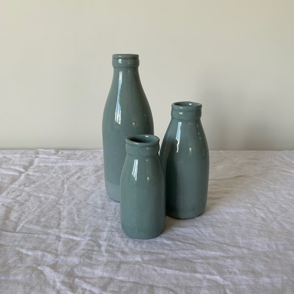 Factory Ceramics Milk Bottles. Colour - Grey