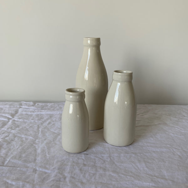 Factory Ceramics Milk Bottle. Colour - Natural