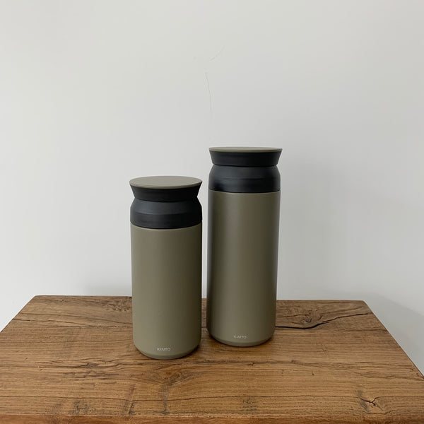Kinto Travel Tumbler - Khaki. A Vacuum Insulated Tumbler with great heat and cold retention, maintains the aroma and flavor of drinks