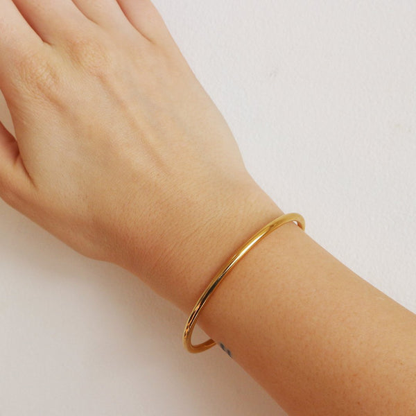 Valley Rounded Cuff Bracelet in Sterling Silver and 14kt Gold Plated