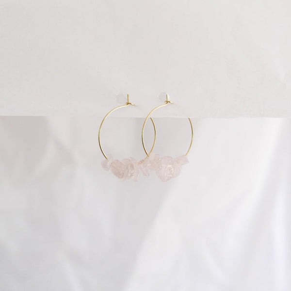 Good Heart Hoops - Rose Quartz
