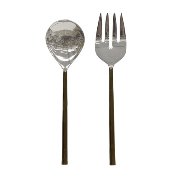 Burnish Stainless Steel Salad Servers