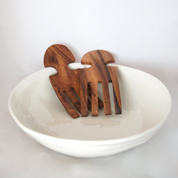 Wood salad or pasta servers in the shape of a hand