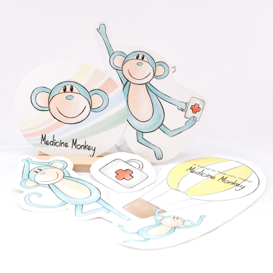 Medicine Monkey stickers included in the toy gift set