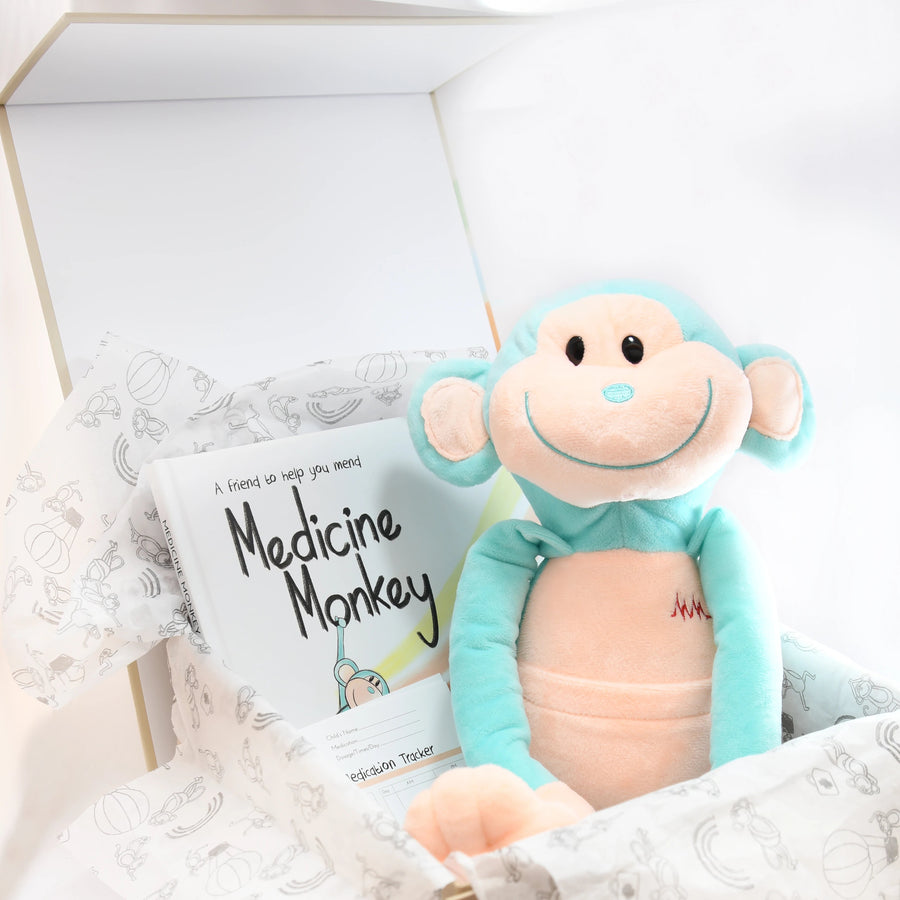 get well toy and book for sick babies by Medicine Monkey