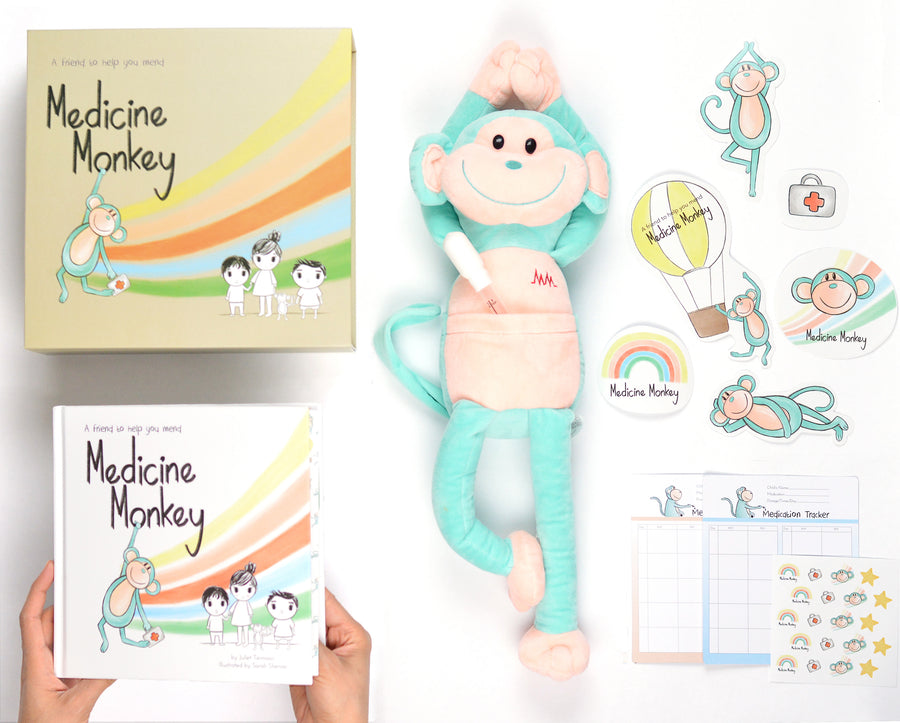 Medicine Monkey package includes aid plush toy and book for kids