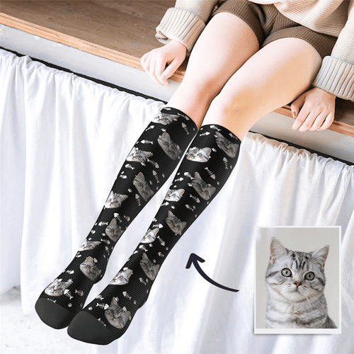Custom Face Knee High Socks Cat