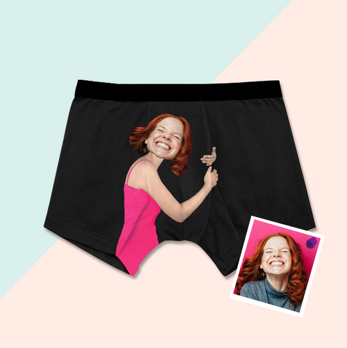 Custom Face Photo Men's Funny Boxer Shorts On Body