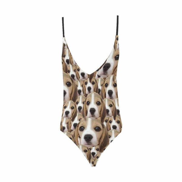 Custom Cute Dog Face V-Neck Women's One Piece Sexy Swimsuit