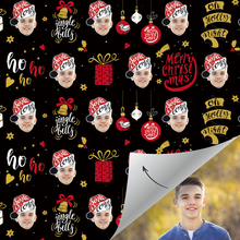 Custom Face Gift Wrap-Merry Christmas Santa Hat Boy