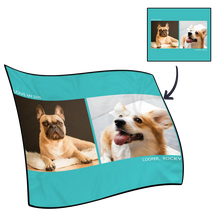 Photo Blanket Personalized Pets Fleece with 2 Photos