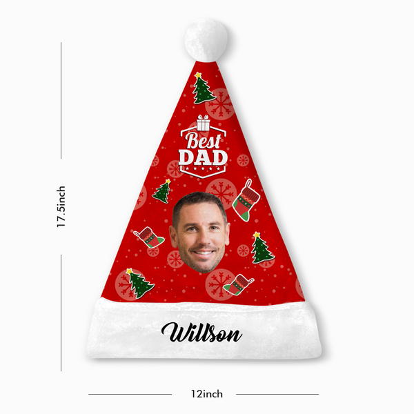 Custom Best Dad Face Santa Hat With Your Text