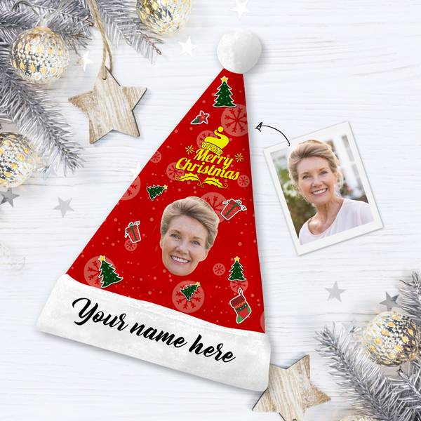 Custom  Face Santa Hat Merry Christmas With Your Text