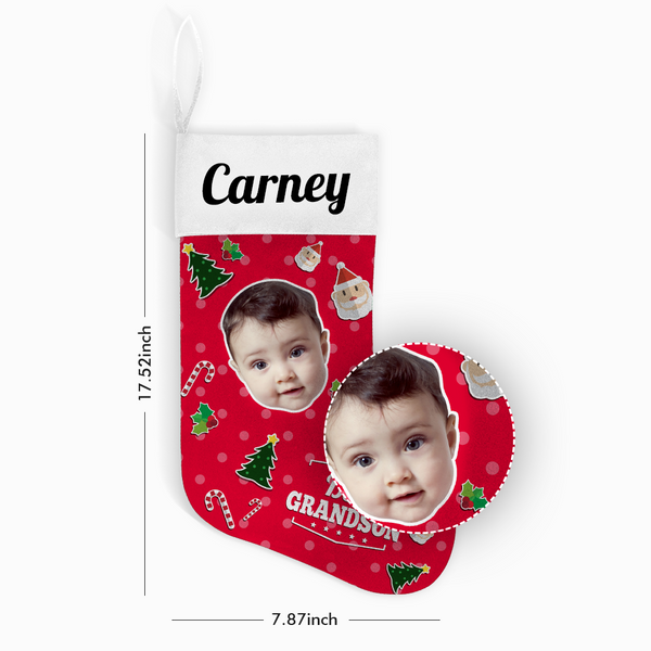 Custom Face Christmas Stocking Best Grandson With Your Text