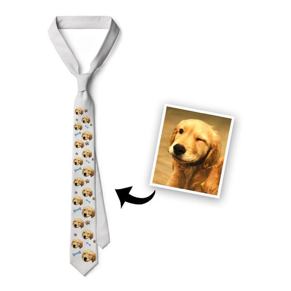 Custom Pet Face On White Necktie - Dog