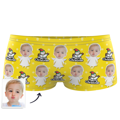 Custom Kids Christmas Angel Face Boxer - Myfacesocksuk